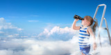 To Discover New Horizons - Little Girl With Binoculars On The Ladder Above The Clouds