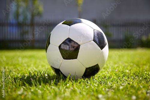 Poster Football of soccer game lying on the grass of the garden