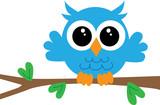 Fototapety a cute little blue owl
