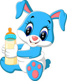 illustration of cute baby rabbit cartoon