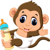 illustration of cute Cartoon monkey