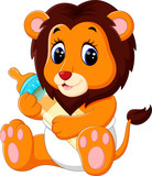 illustration of cute baby lion cartoon
