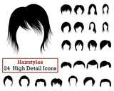 Set of 24 Hairstyles Icons