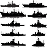 Vector set of 10 silhouettes of the military ship