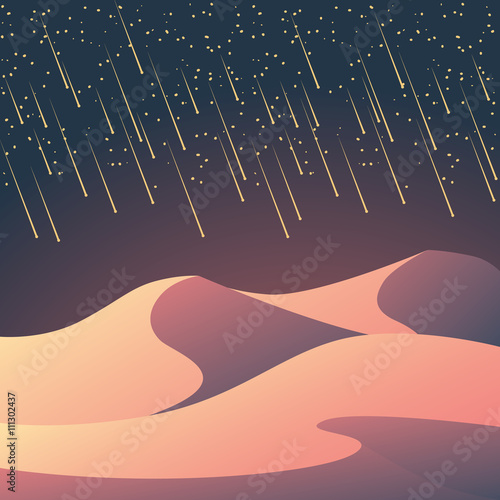 Desert landscape with meteor shower on the night sky. Romantic natural wallpaper for sci-fi or fantasy background