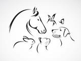 Vector group of pets - Horse, dog, cat, bird, butterfly, rabbit
