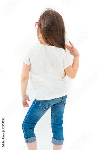 Poster White t-shirt back kid no image