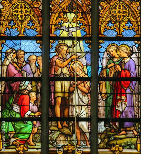 Naklejka Stained Glass - Baptism of Christ