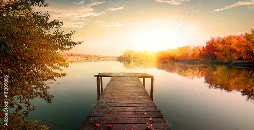 Obraz Red autumn and fishing pier