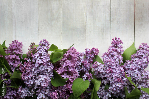 Foto op Canvas Lilac Lilac blossom Mockup on rustic wooden background