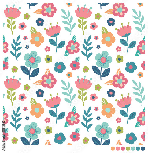Fototapeta Cute floral seamless vector pattern