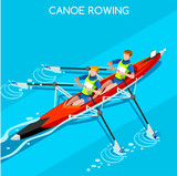 Canoe Sprint Rowing Summer Games Icon Set.3D Isometric Canoeist Paddler.Sprint Rowing Canoe Sporting Competition Race.Sport Infographic Canoe Rowing Vector Illustration