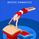 Artistic Gymnastics Vault Summer Games Icon Set.3D Isometric Gymnast.Sporting Championship International Competition.Sport Infographic Artistic Gymnastics Vector Illustration