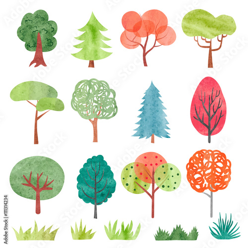 Set of watercolor trees. Colorful tree and grass symbols for your design. Vector illustration.