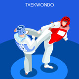 Taekwondo 2016 Summer Games 3D Isometric Vector Illustration