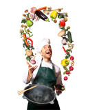 Chef juggling with vegetables and other food in the kitchen - 111314817