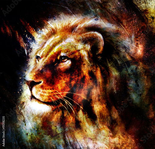 Lion painting on abstract color background. Profile portrait.