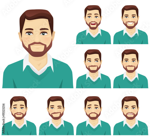 Beard man expression set