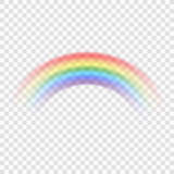 Fototapety Rainbow icon. Shape arch realistic, isolated on transparent background. Colorful light and bright design element for decorative. Symbol of rain, sky, clear, nature. Graphic object. Vector illustration