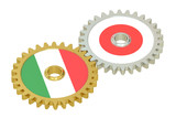 Italian and Japanese flags on a gears, 3D rendering