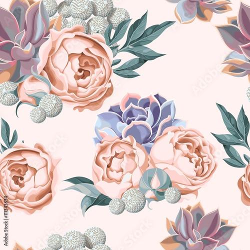 Fototapeta Seamless succulent and peony roses