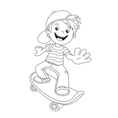 Coloring Page Outline Of cartoon Boy on the skateboard