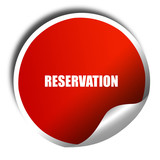 reservation, 3D rendering, red sticker with white text