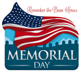 Commemorative Design for Memorial Day with Flag and Cemetery, Vector Illustration