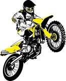 Fototapety Motocross logo. Vector illustration of motorcyclist