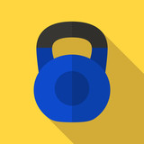Vector illustration. Icon of toy blue kettlebell with a matt black handle in flat design with shadow effect