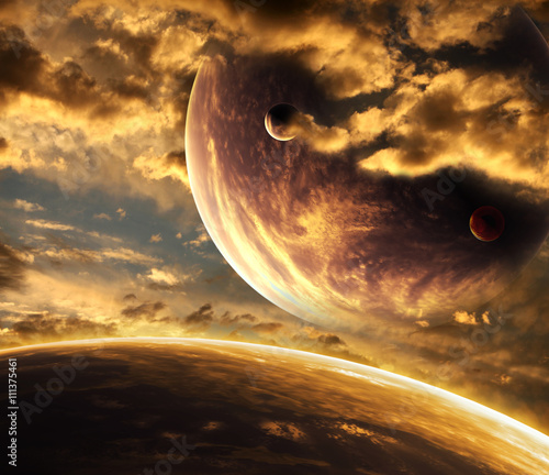 Foto op Canvas UFO Beautiful sunset, cloud and planet