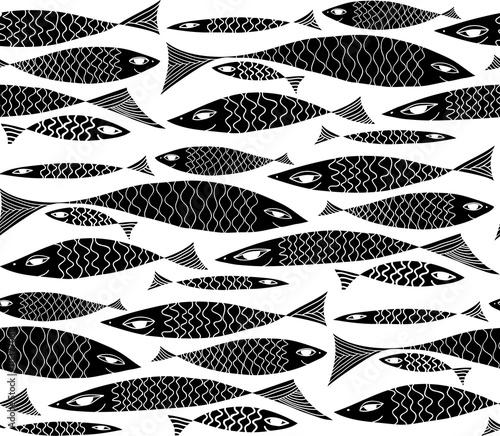 Tapeta Vector underwater black and white pattern.