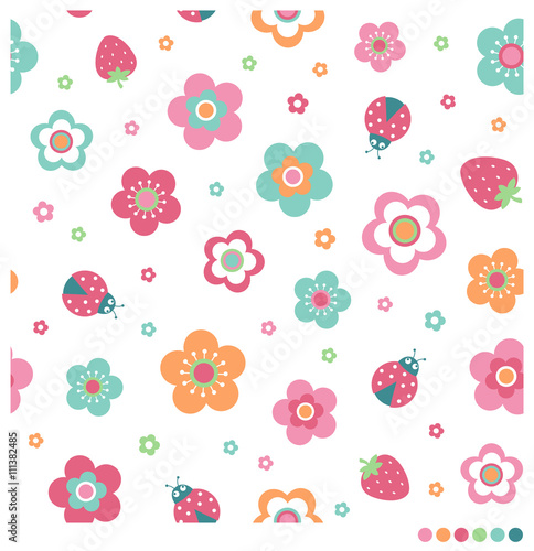 Fototapeta Cute pastel seamless vector pattern with flower, strawberry and ladybug