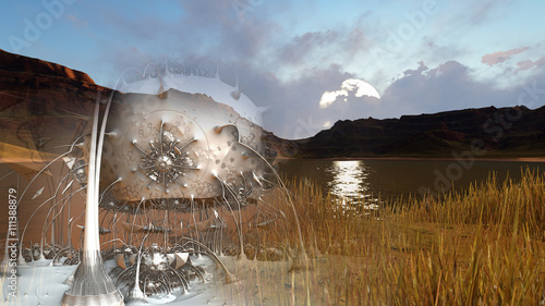 Plakat abstract composition with landscape made in 3d software