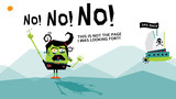 404 Error web page with a funny angry creature screaming and a pirate ship sailing