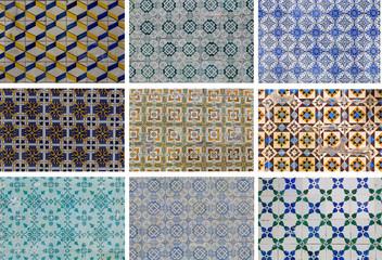 set traditional azulejos tiles