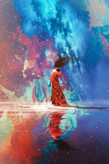 woman in dress standing on water against Universe filled with stars,illustration © grandfailure