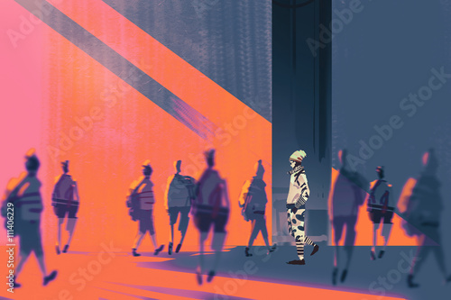 man walking to different way,unique concept,illustration - 111406229