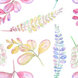 Seamless floral pattern with the abstract watercolor purple, pink and yellow branches, hand drawn on a white background