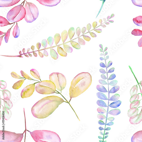 Seamless floral pattern with the abstract watercolor purple, pink and yellow branches, hand drawn on a white background - 111408436