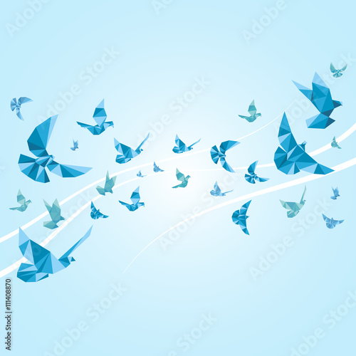 Fototapeta Origami paper doves. Vector abstract background