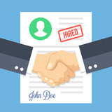 Job application with hired stamp and handshake. Employment issues, recruiting, partnership, human resources, contract, agreement, job application approved concepts. Flat design vector illustration