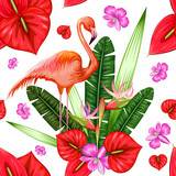 Seamless Pattern with Exotic Tropical Flower and Flamingo