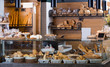 Display of ordinary bakery with bread and buns