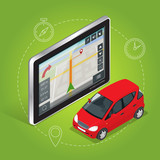 Geolocation gps navigation touch screen tablet. Mobile GPS navigation concept. Flat 3d vector isometric illustration.