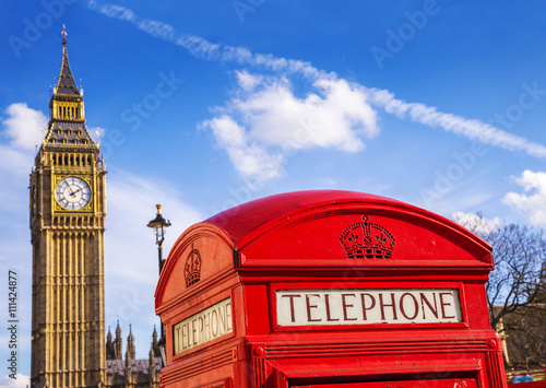 Poster London, England - Old Red Telephone box and Big Ben with blue sky - United Kingd