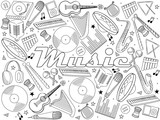 Music instruments coloring book vector