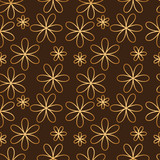 Flower seamless pattern golden color