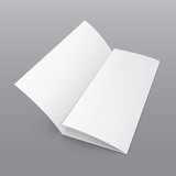 Blank Folded Paper Brochure With Shadows. On Gray Background Isolated. Mock Up Template Ready For Your Design. Vector EPS10