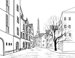 Paris street old city vew. Cityscape - houses, building, tree, alleyway, Eiffel tower background.